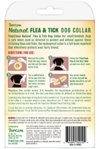 Natural Flea And Tick By Tropiclean Flea And Tick Collar For Small And Medium Dogs Back