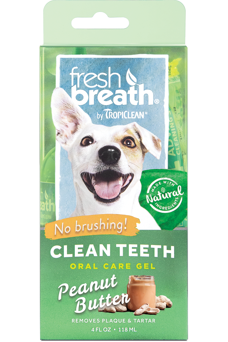 Fresh Breath by TropiClean Peanut Butter Flavored Oral Care Gel for Dogs 4 oz