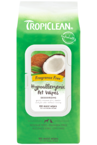 Tropiclean Fragrance Free Hypoallergenic Deodorizing Wipes For Dogs Puppies And Cats
