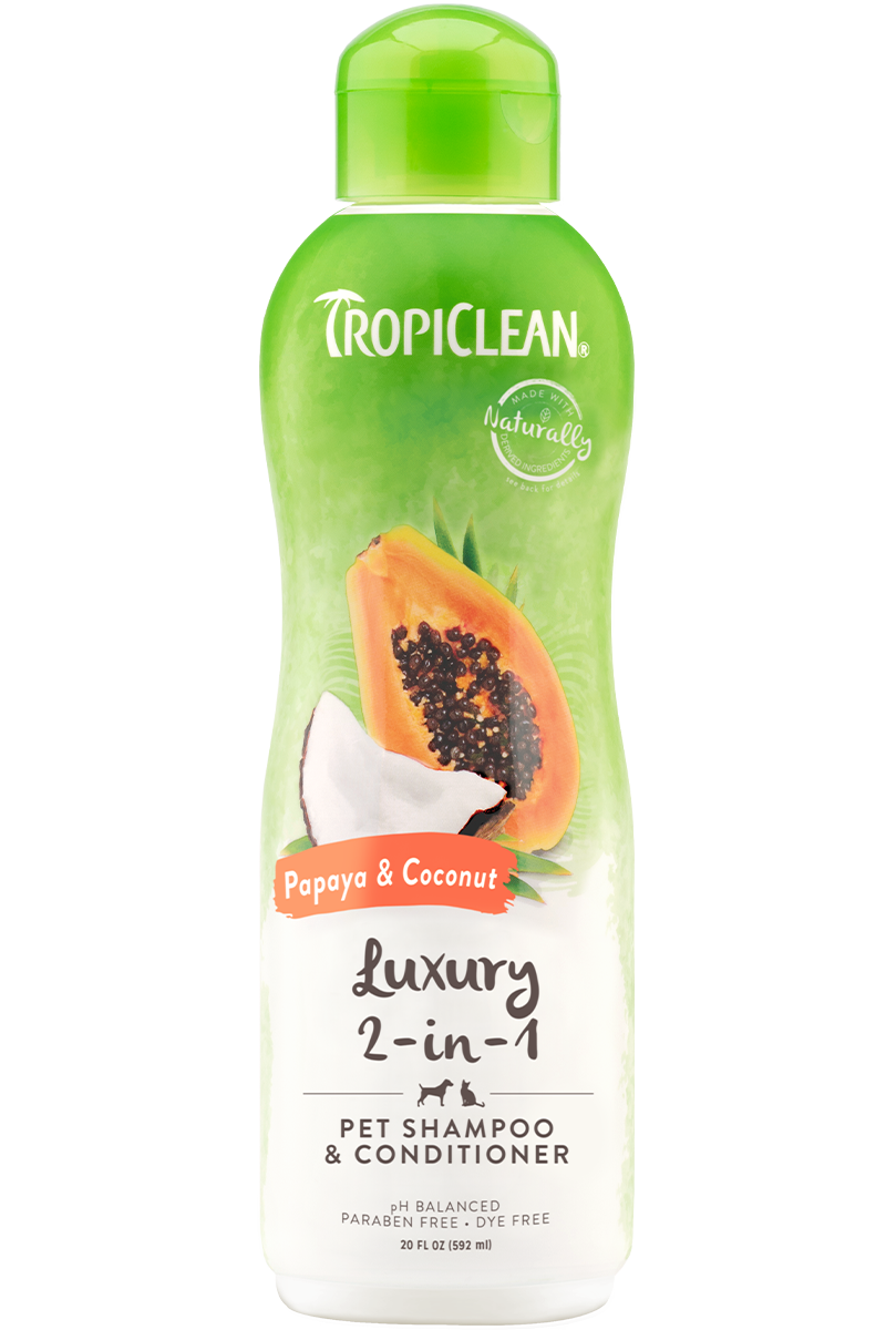 Tropiclean Papaya And Coconut Luxurious 2 In 1 Shampoo And Conditioner For Dogs