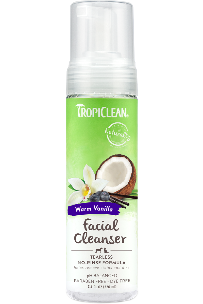 Tropiclean Warm Vanilla Tearless Facial Cleanser No Rinse Waterless Shampoo For Dogs And Cats