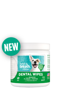 Fresh Breath by TropiClean No Brushing Clean Teeth Dental & Oral Care Dental Wipes Removes Plaque & Tartar 50 ct.