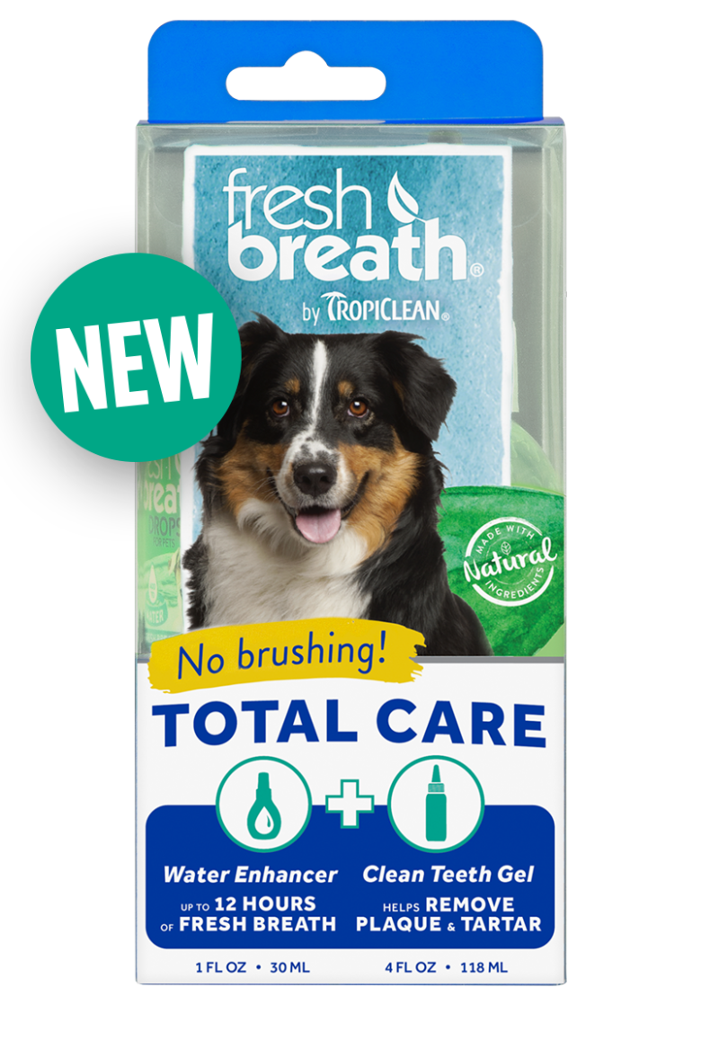 Fresh Breath by TropiClean No Brushing Clean Teeth Dental & Oral Total Care Kit for Dogs with 4 oz. Clean Teeth Gel and 2.2 oz Water enhancer Fights Plaque & Tartar – Made in U.S.A.