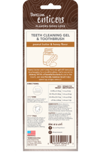 Enticers Teeth Cleaning Gel & Toothbrush for Small & Medium Dogs Peanut Butter & Honey